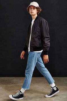 UO Nylon Ace Bomber Jacket - Urban Outfitters