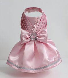 Baby Pink Satin Dog Dress   MaxMilian on Etsy