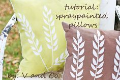 Great idea for spraypainting pillows! Uses the same technique as shirt printing that I used for Harry Potter shirts!