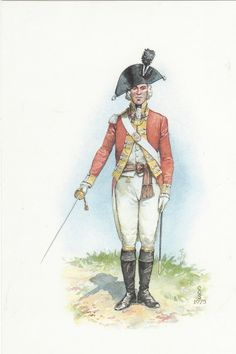 British; 20th Regiment of Foot, Officer Line company 1780 by Charles C Stadden. By this time of the war this full uniform would be rarely seen, possibly being unboxed for an important review, otherwise the cut down Coats and hats with overalls would be the typical campaign dress.