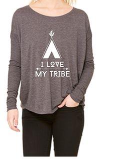 I Love My Tribe gray slouchy