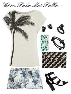 """When Palm Met Polka..."" by ahalife ❤ liked on Polyvore featuring Kayu, André Ribeiro, belle by Sigerson Morrison, Casetify, Paul & Joe Sister, People Tree, ahalife and patternmixing"