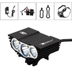 SolarStorm X3 XM-L T6 LED Recargable Luces de bicicleta Impermeable linterna del faro Pesca Acampar Al Aire Libre con 4x18650 de la batería