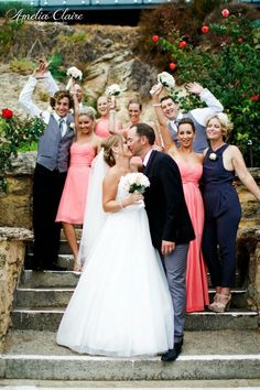 Different style bridesmaid dresses ~ coral