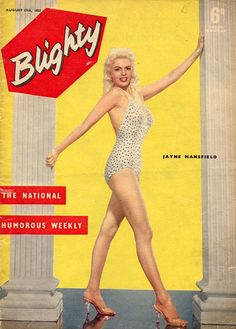 Jayne Mansfield on the cover of Blighty magazine, August 17, 1957, UK.