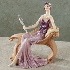Cultivate a dramatic air with elegant lady figurines and shelf sitters. Browse art deco sculptures, Victorian lady figurines, and more statues inspired by these vintage era beauties. Porcelain Dolls Value, Fine Porcelain, Porcelain Ceramics, Painted Porcelain, Vases, Art Nouveau, Japanese Tea Set, Doll Japan, Porcelain Jewelry