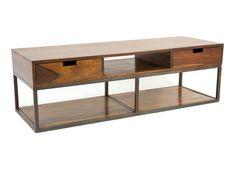 Meuble télé design industriel multi-rangement bois et fer Crispy