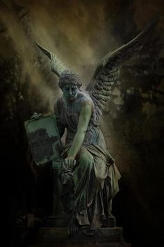 Angel, unknown photog and sculptor. Cemetery Angels, Cemetery Statues, Cemetery Art, Angels Among Us, Angels And Demons, Statue Ange, Old Cemeteries, Graveyards, Bild Tattoos