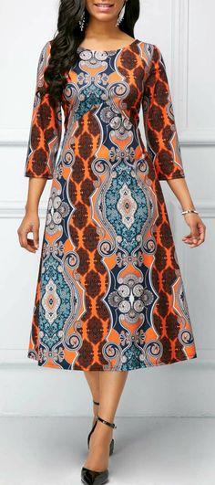 dress for women Printed Round Neck Three Quarter Sleeve Dress - African Fashion Designers, African Fashion Ankara, Latest African Fashion Dresses, African Print Dresses, African Print Fashion, African Wear, African Attire, African Dress, Women's Fashion Dresses