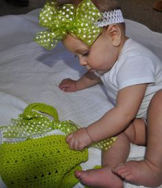 Baby Girl Headband White with Green Bow