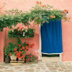 Blue Curtain - Burano, Italy by Dennis Barloga