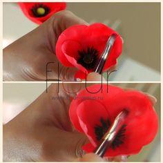 Tutorial: poppy flowers made with clay Fleur Мастер-класс: маки сделанные из глины Fleur