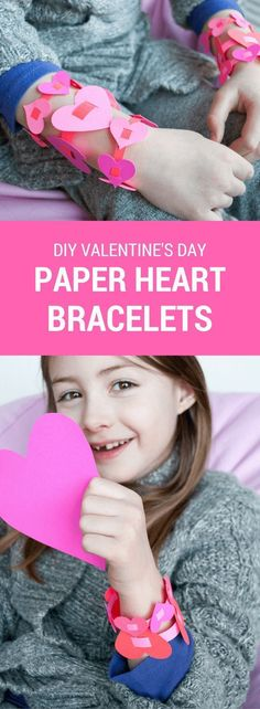 Easy DIY paper heart bracelets for kids. Just punch out hearts, cut slits, and slide hearts onto a strip of paper. What a cute and fun candy-free Valentine's Day activity for home or school! #valentinesday #valentine #crafts #hearts #pink #red #diybracelets