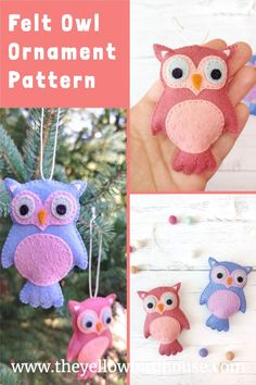 Make a cute felt owl ornament with this easy to follow pattern. DIY Felt Christmas tree ornament. Felt owl pattern.