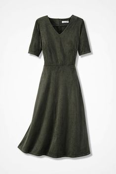 Faux Suede Fit-and-Flare Dress, Vine.   Modest mother of the bride   Informal  