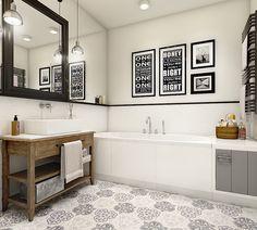 Łazienka w stylu eklektycznym z typografią