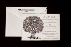 Rustic oak tree save the dates