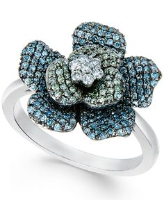 'wrapped in love' multi-colour diamond flower ring