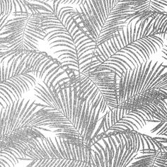 Chic faux silver glitter tropical plants pattern Art Print
