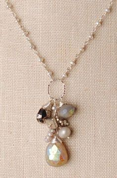 Green Kyanite Necklace with Keshi Pearls and Aquamarine in Gold Gift for Her June Birthstone Statement Necklace