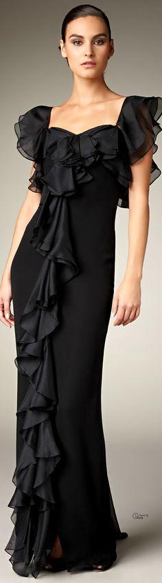Marchesa Black Cascading Ruffle Gown
