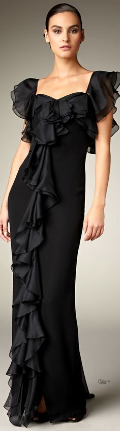 Notte By Marchesa Black Cascading Ruffle Gown