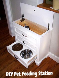 How to make a dog food storage and feeding station out of a dresser.