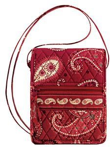 Vera Bradley Mini Hipster Mesa Red crossbody shoulder bag travel organizer wallet NWT Retired
