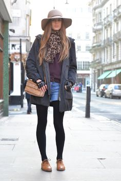 oxfords with shorts & opaque tights