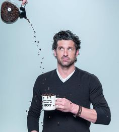 Actor Patrick Dempsey's Coffee Talk at Bon Appetit - I'm amused by this photo, not because of the mug, not because I think Patrick Dempsey is hot (or McDreamy), more because I still think of Patrick Dempsey as the pizza delivery guy. Coffee Talk, I Love Coffee, Hot Coffee, Coffee Break, Coffee Drinks, Drinking Coffee, Sexy Coffee, Cheap Coffee, Coffee Club