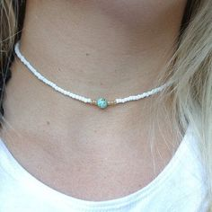 simple white gold blue turquoise beaded choker necklace