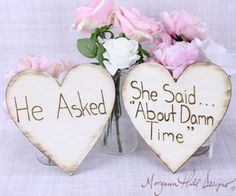 Engagement Photos Photo Prop Signs Rustic Hearts by braggingbags, $36.50