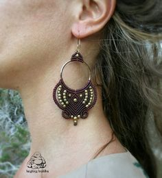 Hoop earrings, macrame earrings, boho earrings, hippie jewelry, gypsy jewelry…
