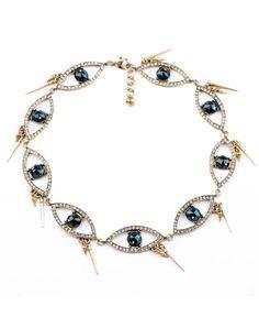 Diamante Eyes Long Rivets Necklace ( bitchen'!)