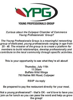 Come SEE what YPG is all about - Thur. July 11 at Buffalo Wild Wings!!