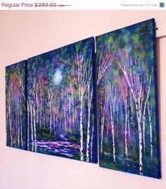 Commission set 3 painting set Blue moon and by jeanvadalsmith, $259.35
