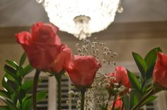 Valentine's Day Party Table FLowers Roses Chandelier