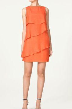 candy orange cascading ruffle sleeveless chiffon dress
