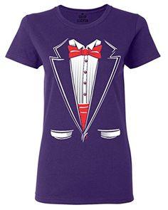 1aa108ad9ada Amazon.com  Shop4Ever Tuxedo Costume Women s T-Shirt Funny Shirts  Clothing