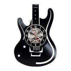 Electric Guitar VINYL RECORD 3D LASER CUT WALL CLOCK AU $44.50