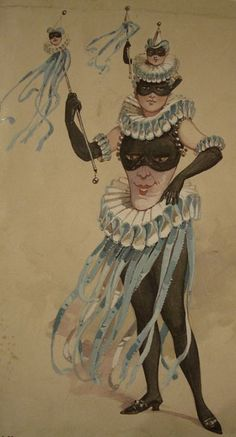 Theatrical costume design for a female Jester by C.great comedy dell arte or circus pierrot costume Pierrot Costume, Pierrot Clown, Theatre Costumes, Ballet Costumes, Victorian Fancy Dress, Costume Venitien, Illustration Art, Illustrations, Vintage Circus