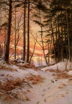 Afterglow, oil on canvas, by Joseph Farquharson, 1846-1935, British.