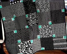 brown & white quilts | My 'simple' B/W quilt is about lap size.