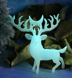 Glow in the dark Crescent Deer Figurine. Glowing miniatures by Evgeny Hontor. Moon Animal Sculpture Fantasy Woodland Creature Art Totem. This deer with large beautiful antlers made with love and will be a wonderful gift for nature lovers. This figurine can be infinitely charged from a bright light source and glow in absolute darkness for several hours. You can choose between two glow options: classic green and blue. Green will glow longer, it is the brightest luminophore.
