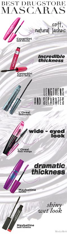 Makeup - Best Drugstore Mascaras for Every Desired Effect Best Drugstore Mascara, Mascara Tips, Best Mascara, All Things Beauty, Beauty Make Up, Beauty Style, Love Makeup, Makeup Looks, Beauty Makeup