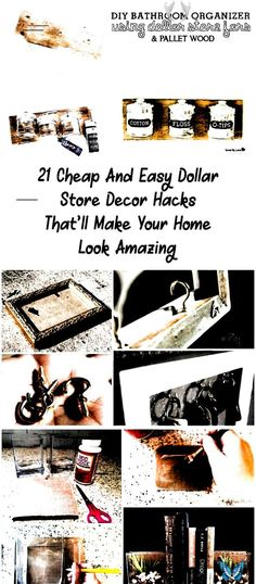 21 Dollar Store DIY Home Decor Ideas. Are you looking for cheap and affordable d # bathroom decor ideas on a budget<br> Bedroom Crafts, Diy Home Decor Bedroom, Diy Bathroom Decor, Bathroom Ideas, Small Bathroom, Budget Bathroom, Bathroom Organization, Home Decor Hacks, Decor Ideas