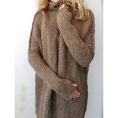 Oversized Chunky Knit Sweater Slouchy Bulky Loose Knit Sweater Brown... ($167) ❤ liked on Polyvore featuring tops, sweaters, brown turtleneck sweater, oversize sweater, alpaca sweaters, loose sweaters and wool sweaters
