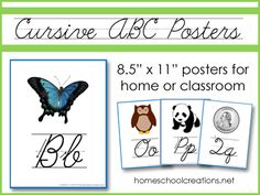 Cursive ABC Wall Posters - FREE printables showing uppercase and lowercase cursive letter formation.