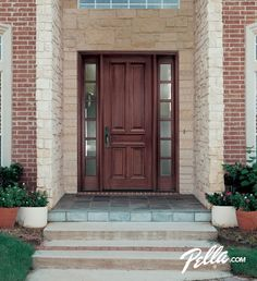 Enjoy walking up to your home's entrance with a Pella wood front door.