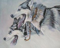 Siberian Husky art print CANVAS print of LA Shepard dog painting 8x10 dog art